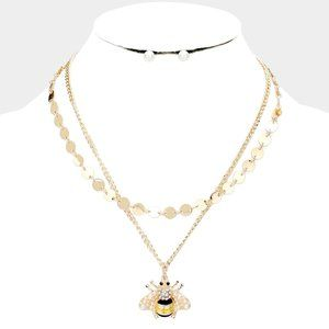 Pearl Honey Bee Accented Necklace & Earrings